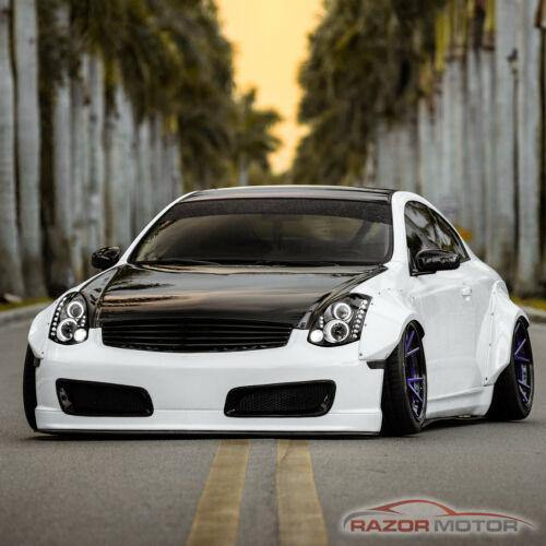 NINTE Infiniti G35 Coupe 2003-2007 Projector Black Headlights Pair [LED Halo] - NINTE