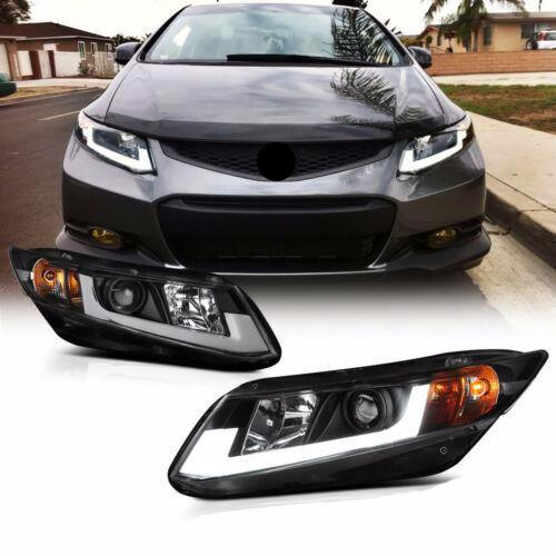"For 12-15 Civic Coupe Sedan FB FG Black ""TRON TUBE DRL"" Projector Headlight Lamp - NINTE"