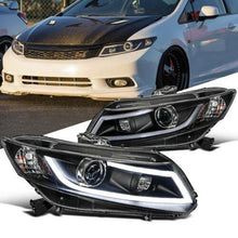 Load image into Gallery viewer, Fit 12-15 Honda Civic 2/4Dr Black Projector Headlights Head Lamps+LED DRL Bar - NINTE