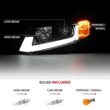 "Load image into Gallery viewer, For 12-15 Civic Coupe Sedan FB FG Black ""TRON TUBE DRL"" Projector Headlight Lamp - NINTE"