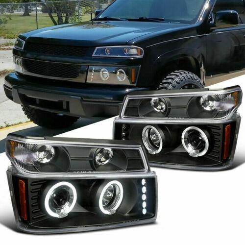 For 04-12 Colorado Canyon Halo LED DRL Projector Headlights+ Black - NINTE