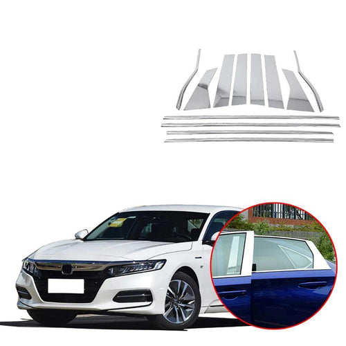 NINTE stainless steel glass window garnish pillar column trim For Honda Accord Sedan 10th 2018 2019 - NINTE