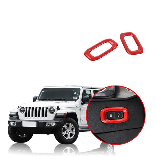 Car Door Lock Switch Button Cover Decoration Stickers for Jeep Wrangler JL 2018 2019 NINTE - NINTE