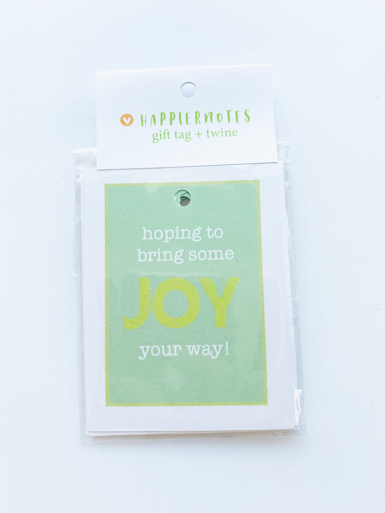 "Happiernotes ""JOY"" gift tags and twine"