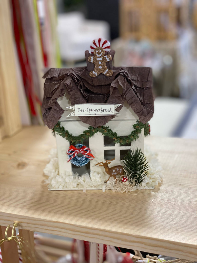 Gingerbread Mini Christmas House with Brown Roof