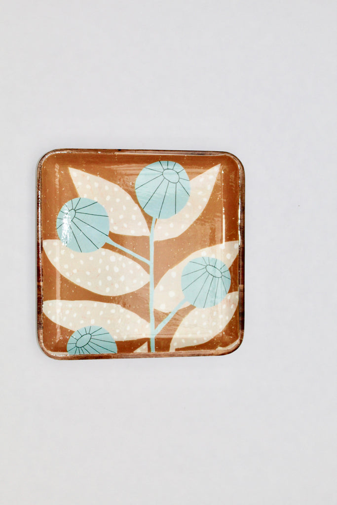 Light Blue Flower Wood Tray