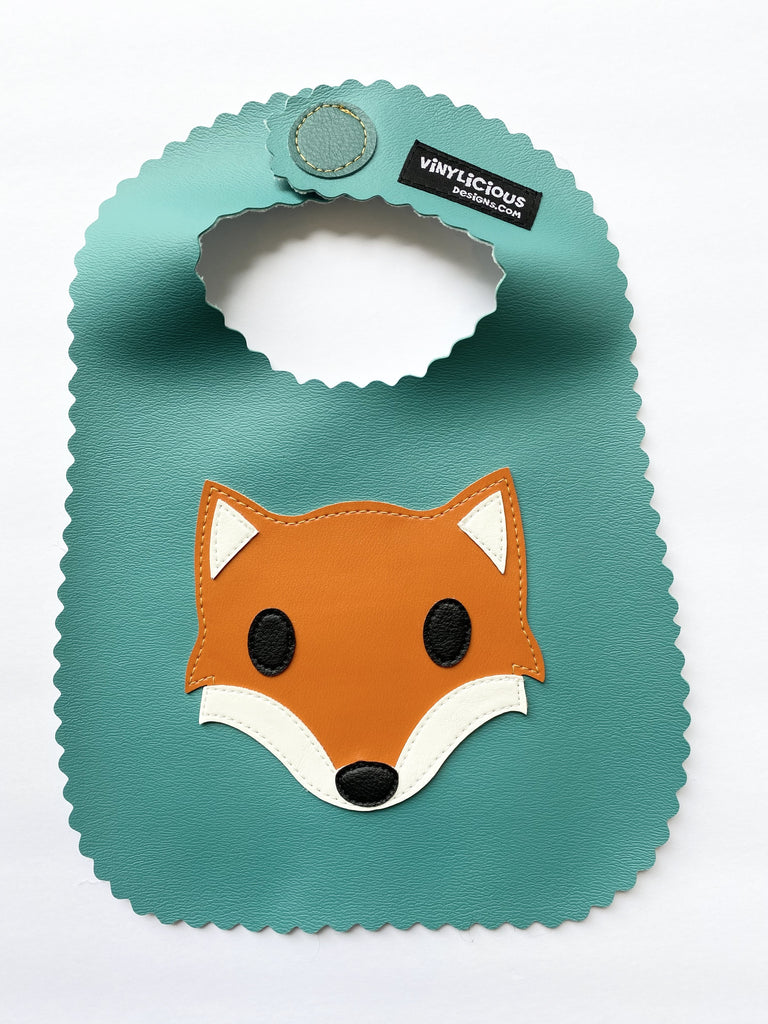 Turquoise Fox Bib from Vinylicious