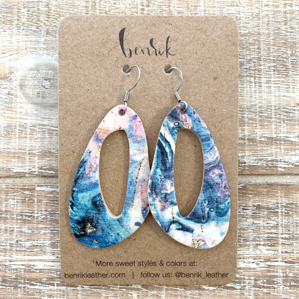 The Pink Ocean Abstract Oval Earrings
