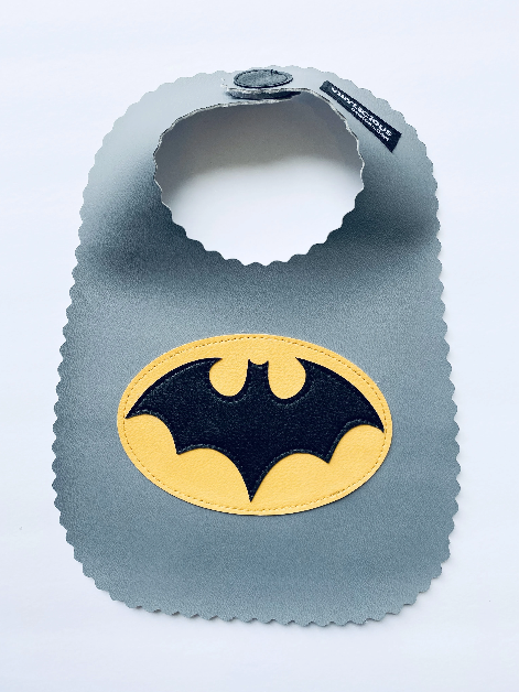 Grey Batman Bib from Vinylicious