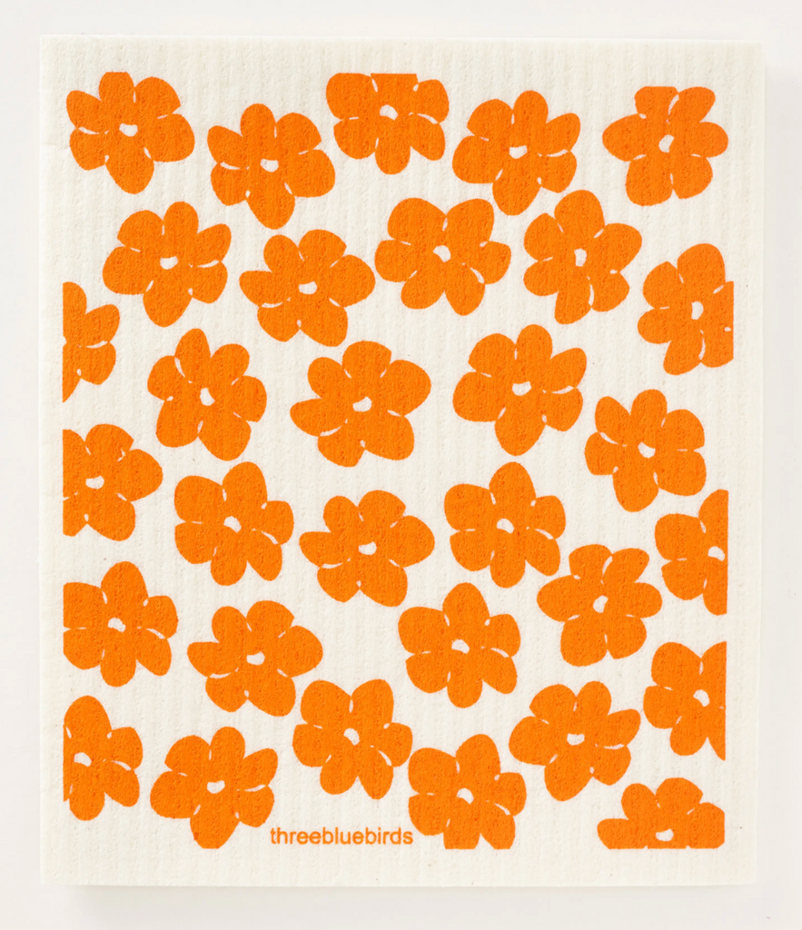 Orange Poppi Red Swedish Dishcloth