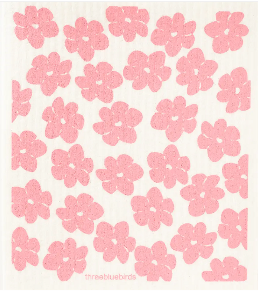 Pink Poppies Swedish Dishcloth