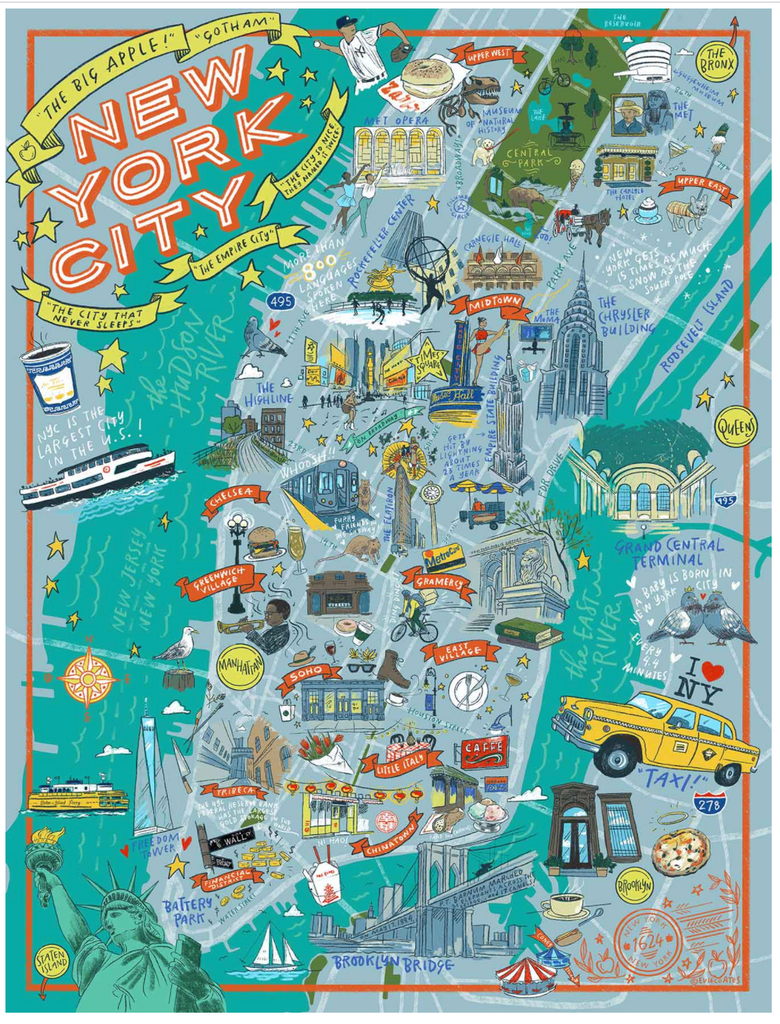New York City Illustrated Map True South puzzle
