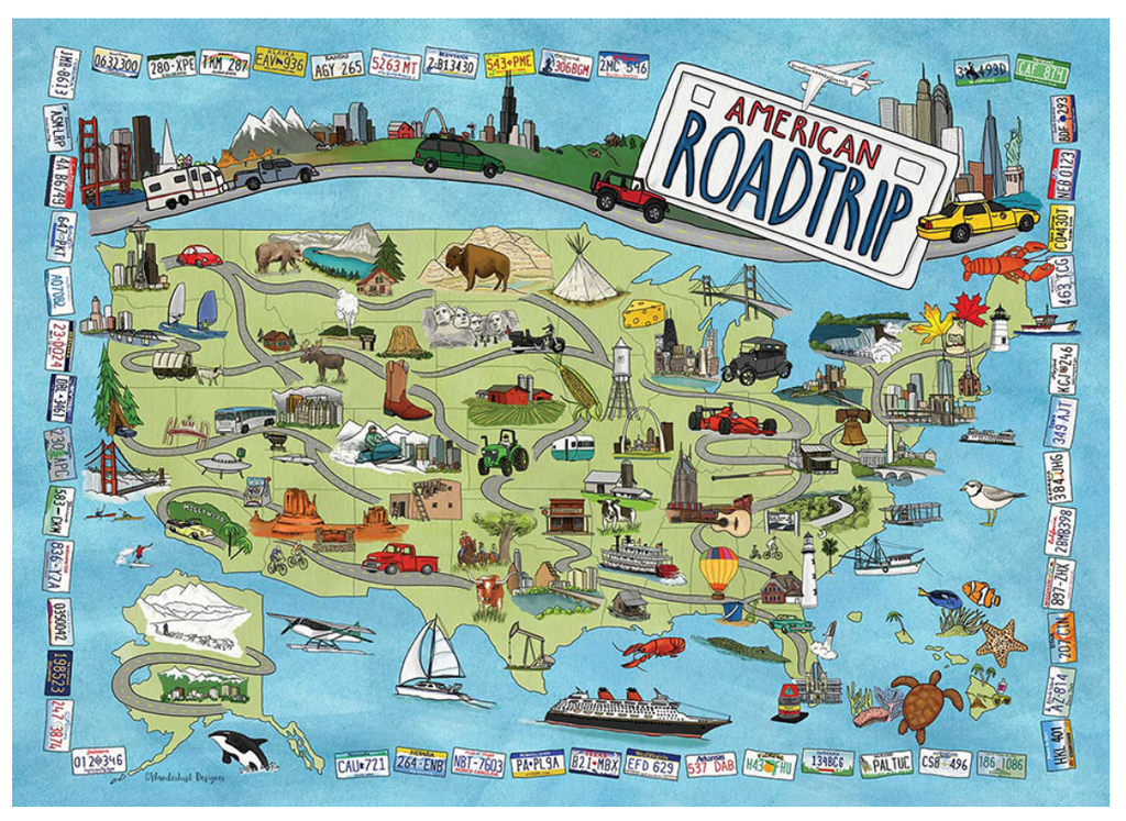American Road Trip Illustrated Map True South puzzle
