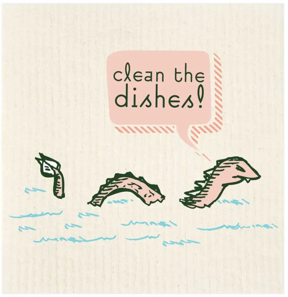 Clean The Dishes Dragon Swedish Dishcloth