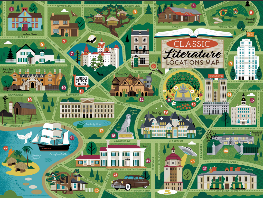 Classic Literature Locations Map  True South puzzle