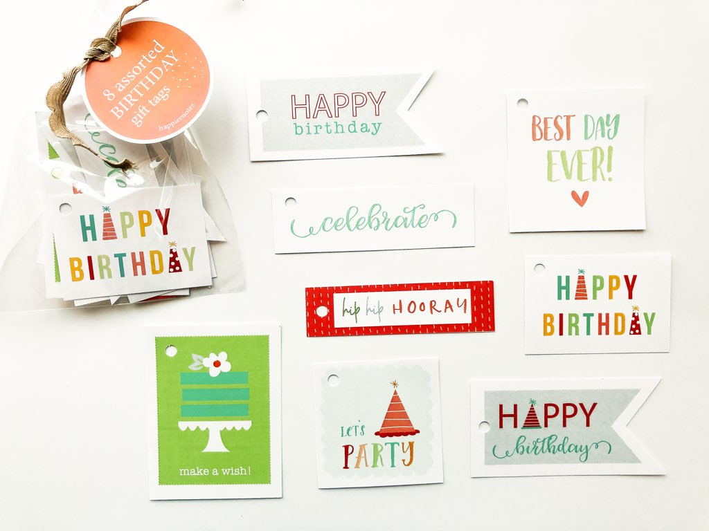 Happiernotes Birthday Gift Tag Set