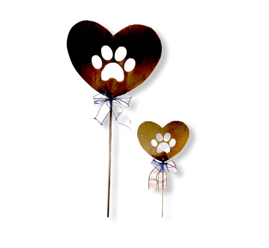 Heart Dog Paw Garden Art