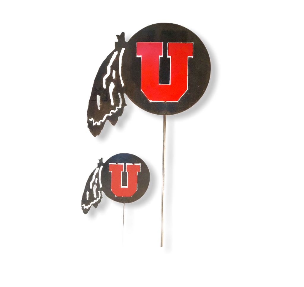 """Go Utes"" Metal University of Utah Garden Post"