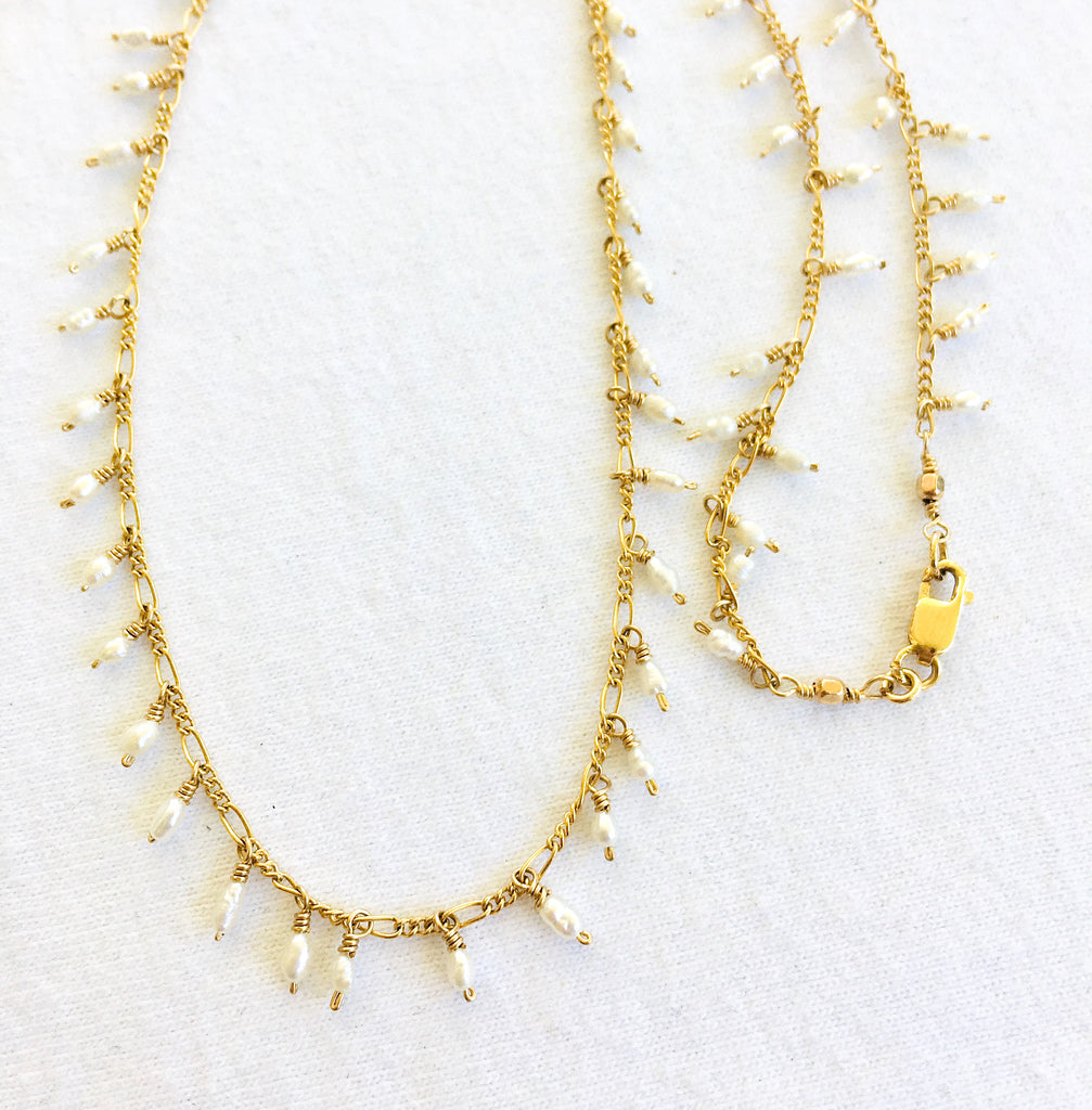 CKB Pearl Dangles on Gold Chain Necklace