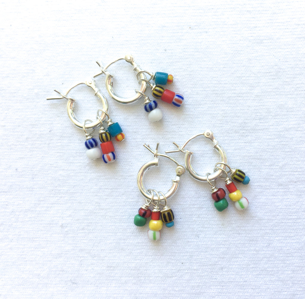 CKB Tiny Silver Hoops With Colorful Beads