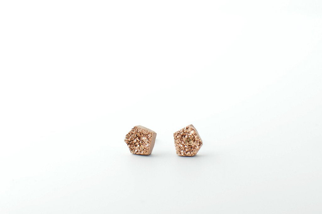 Hey June Rose Gold Druzy Stud Earrings