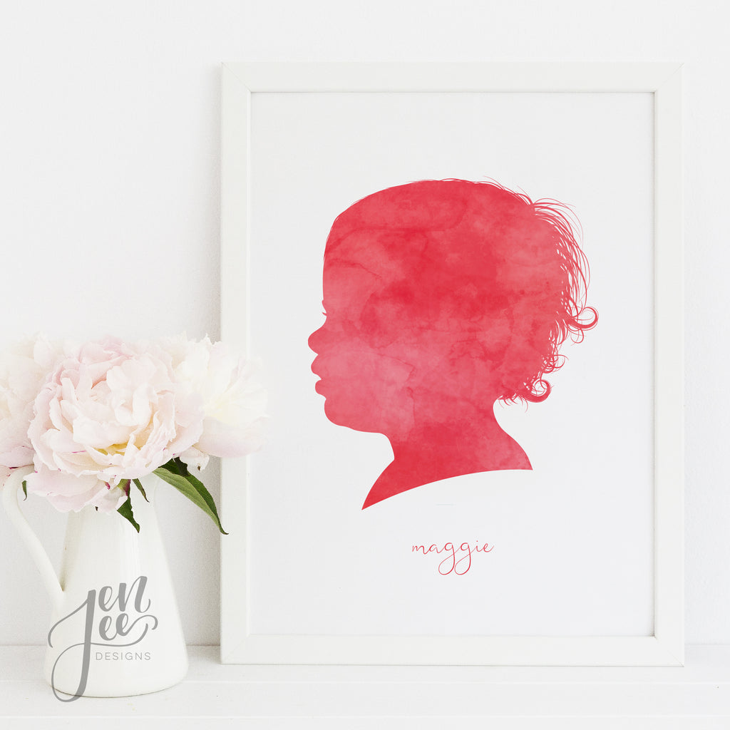 Portrait Silhouette Custom Print by Jen Lee Designs
