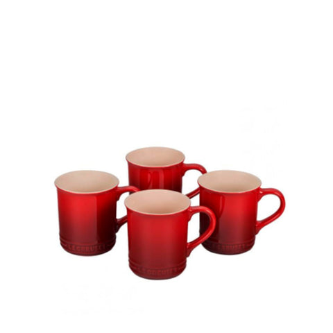 Le Creuset Stoneware Set of 4 Mugs, 14-oz, Cerise