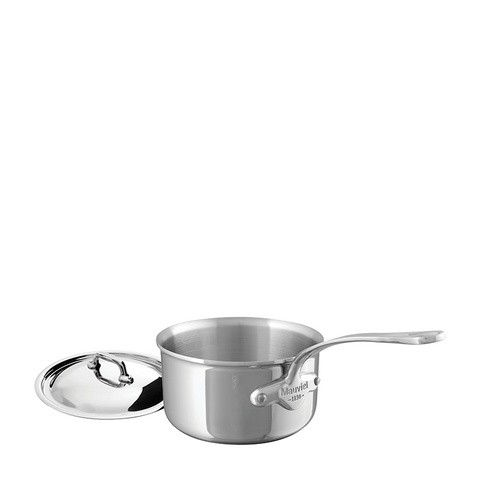 Mauviel M'cook Stainless Steel Saucepan w/Lid, 8-in