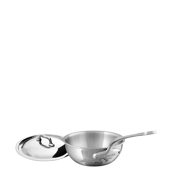 Mauviel M'cook Stainless Steel Curved Splayed Saute Pan w/Lid, 1.1-qt