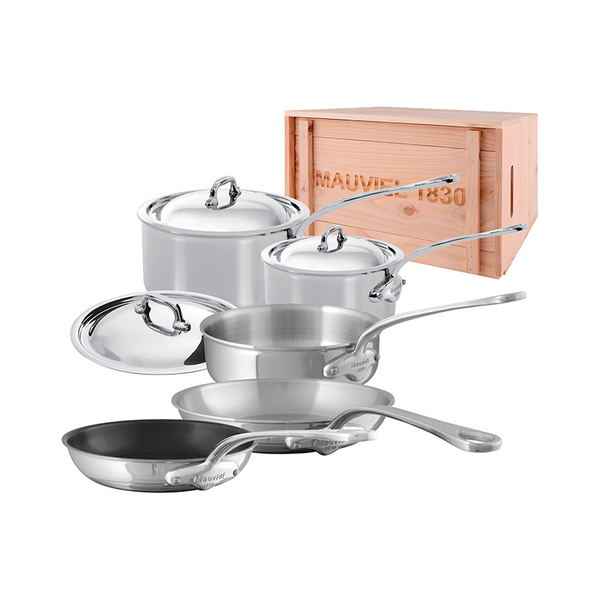Mauviel M'cook Stainless Steel 8-Piece Set w/Crate