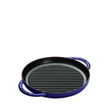 Staub Cast Iron Round Grill Double Handle, 10-in, Dark Blue