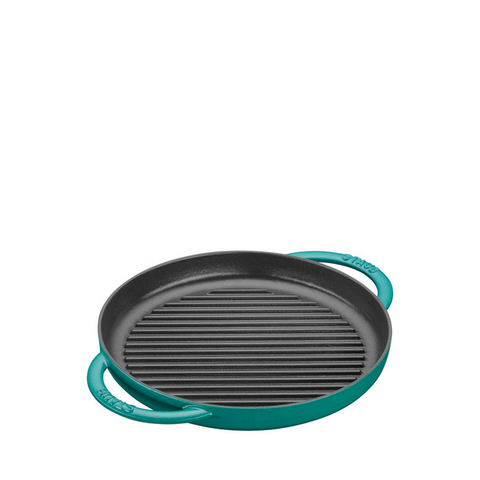 Staub Cast Iron Round Grill Double Handle, 10-in, Turquoise