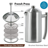 Frieling Brushed Stainless Steel French Press Coffee Maker, 23 oz - Kitchen Universe