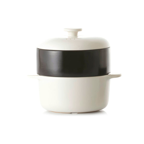 JIA Steamer II Set With White Ceramic Steamer Pot, Lid And Black Basket