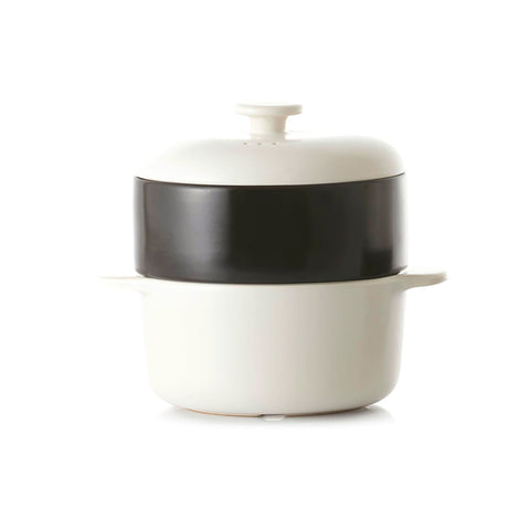 JIA Steamer II Set With White Ceramic Steamer Pot, Lid And Black Basket - Kitchen Universe