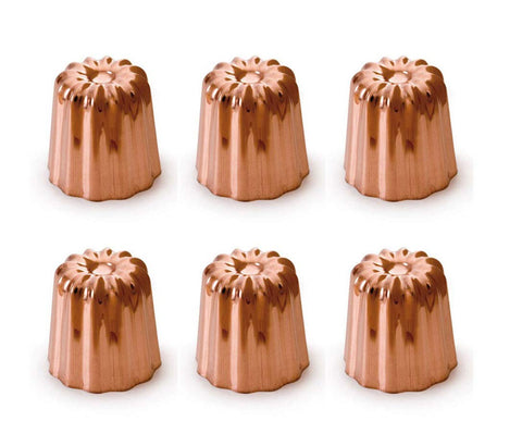 Mauviel M'passion Copper Canele Mold w/Tinned Lined Interior, 6 Units