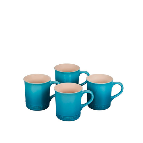 Le Creuset Stoneware Set of 4 Mugs, 14-oz, Caribbean