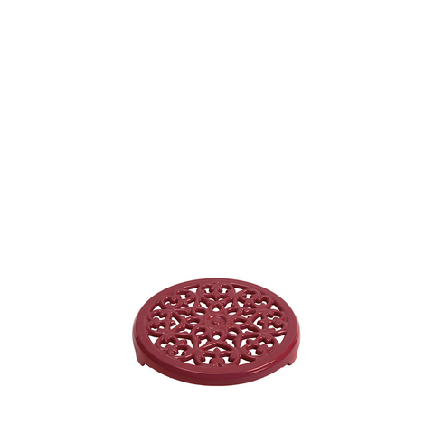 Staub Cast Iron Round Lilly Trivet, 9-in, Grenadine - Kitchen Universe