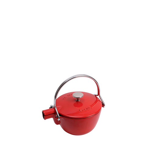 Staub Cast Iron Round Tea Kettle, 1 qt, Cherry Red