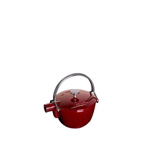 Staub Cast Iron Round Tea Kettle, 1 qt, Grenadine