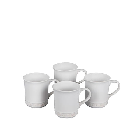 Le Creuset Stoneware Set of 4 Mugs, 14-oz, White - Kitchen Universe