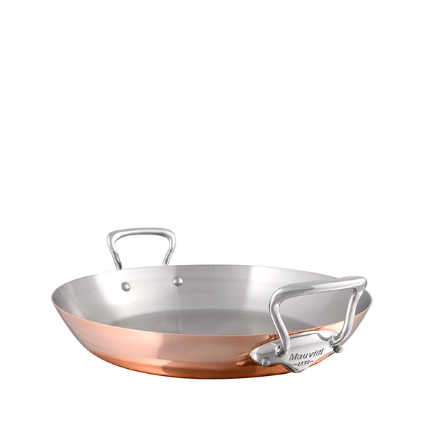 Mauviel M'heritage M150S Copper & Stainless Steel Paella Pan, 13.7-in