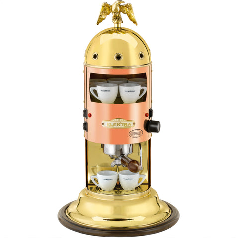 Elektra Mini Verticale Espresso & Cappuccino Machine, Copper & Brass - Kitchen Universe
