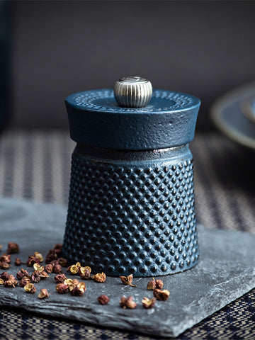 Peugeot Bali Fonte Cast Iron Pepper Mill with Tan Hoi Peppercorns, Blue