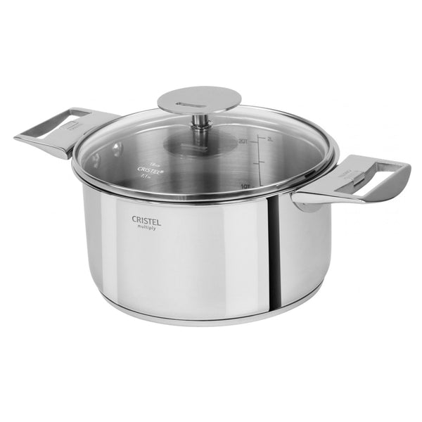 Cristel Multiply Casteline 5-Ply Stainless Sauce / Casserole Pan With Lid