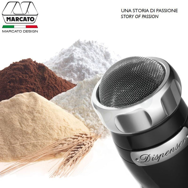 Marcato Dispenser Flour, Sugar & Cocoa Sifter, Black - Kitchen Universe