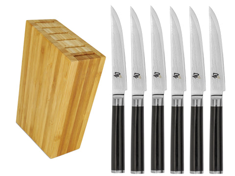 Shun Classic 6-Piece Steak Knife with Bamboo Side Car Block