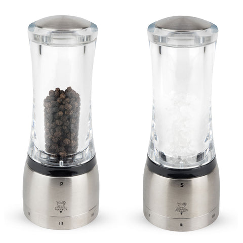Peugeot Daman u'Select Acrylic and Stainless Steel Pepper & Salt Mill Set 6-in - Kitchen Universe