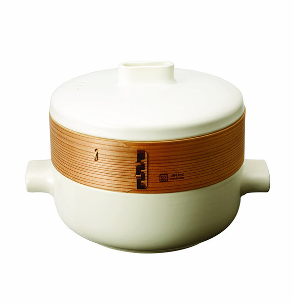 JIA Steamer Set With Ceramic Steamer Pot, Lid, Cedar Wood Basket & Poacher