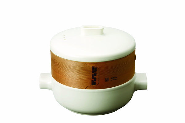JIA Inc Steamer Set With Ceramic Steamer Pot, Lid And Cedar Wood Basket